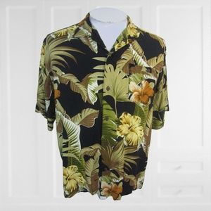 Hawaiian Palms Men ALOHA shirt vintage floral L